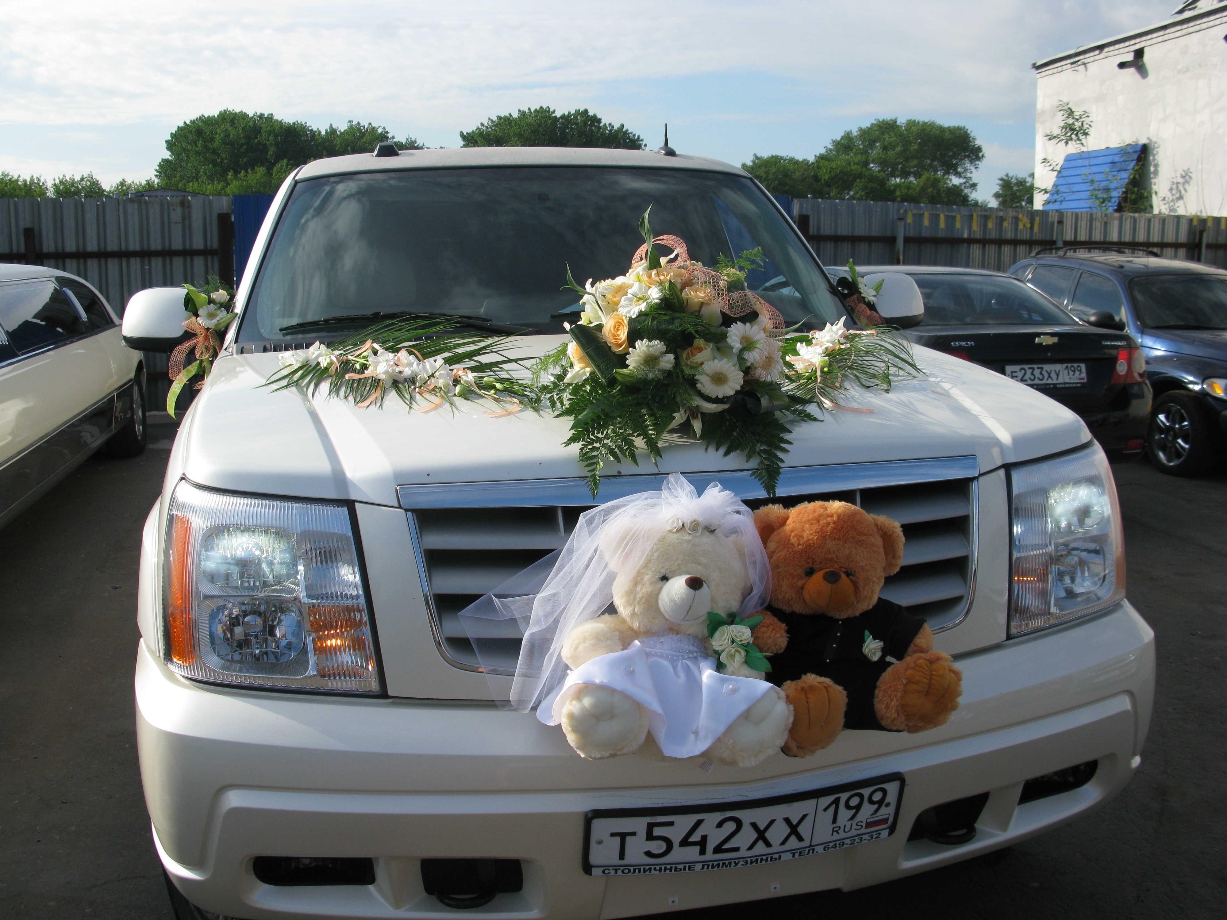 Свадебные украшения на лимузины фото